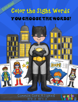 Editable Color the Sight Words Superhero Themed