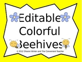 Editable Colorful Beehives