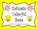 Editable Colorful Bees