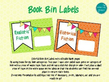 Editable Colorful Book Bin Labels