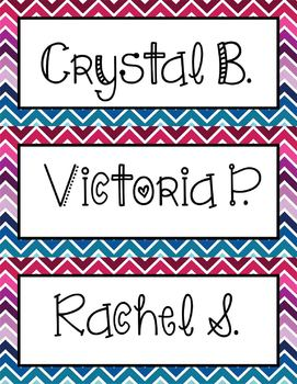 Editable Colorful Chevron Desk Nameplates - Editable PDF - Just type the names!