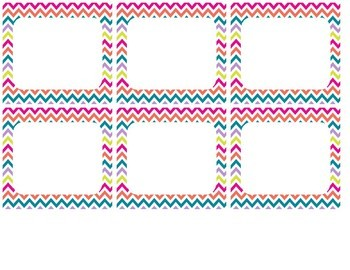 Editable Colorful Chevron Labels that fit Target Adhesive Plastic Pockets