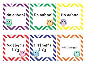 Editable Colorful Chevron and Owl Calendar
