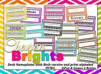 Editable Colorful Chevron themed print and cursive Alphabet Desk Nameplates