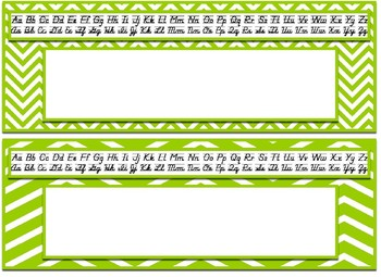 Editable Colorful Chevron themed print and cursive Alphabet Desk Nameplates