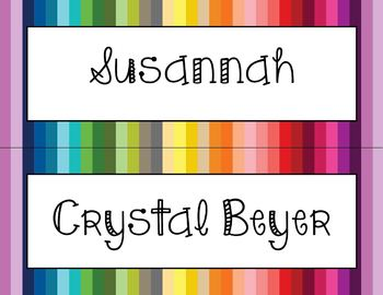 Editable Colorful Desk Nameplates - Editable PDF - Just type the names!