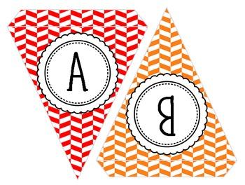 Editable Colorful Pennant Banners! Chevron, Polka Dot, Herringbone