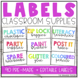 Editable Colourful Classroom Supply Labels
