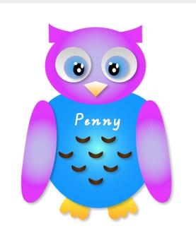 Editable Colourful Owl Name Tags