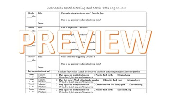 Editable Common Core Aligned Reading AND Fact Fluency Log