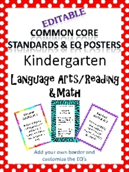 Editable Common Core & EQ posters for Kindergarten