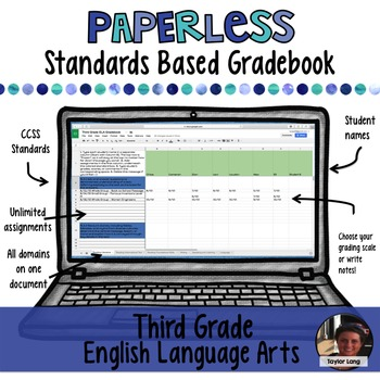 #TPTDIGITAL Paperless Standards Based Gradebook - 3rd Grade ELA