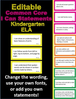Editable Common Core I Can Statements ELA K