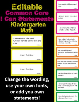 Editable Common Core I Can Statements Math Kindergarten