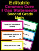 Editable Common Core I Can Statements Math Second Grade