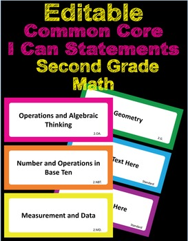 Editable Common Core I Can Statements Math Second Grade
