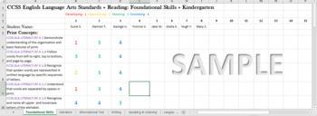 Editable Common Core State Standards Mastery Gradebook - Kindergarten ELA