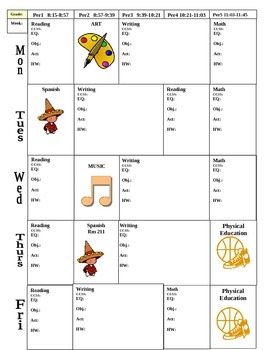 Editable Common Core Weekly Lesson Plan Template