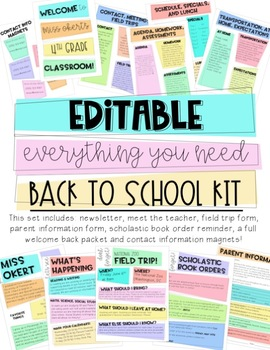 Editable Bright Back to School Kit