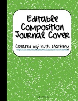 {Editable Composition Journal Cover Light Green}