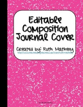 {Editable Composition Journal Cover Pink}