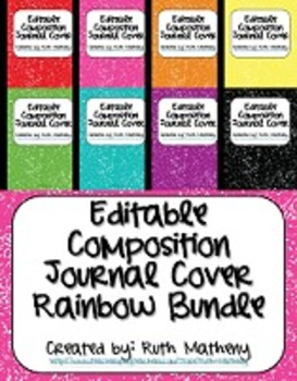 {Editable Composition Journal Cover Rainbow 8-in-1 Bundle}