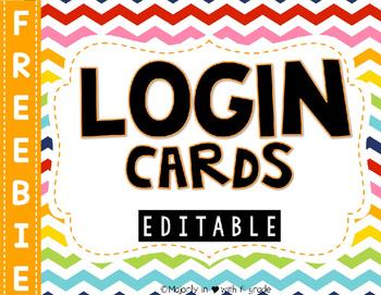 Editable Computer Login Cards {FREEBIE}