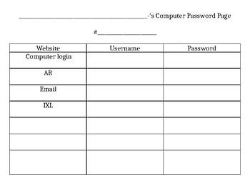 Editable Computer Login Sheet