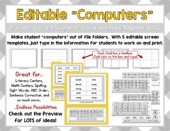 Editable Computers - Add your own text to create endless centers and activities!