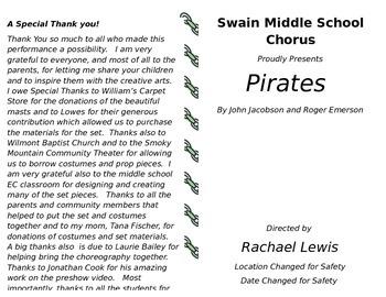 Editable Concert Program Pirates