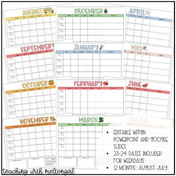 Editable Conduct Calendars 2019-2020 FREE Lifetime Updates