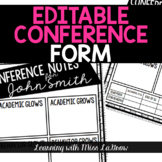 Editable Conference Notes Form for Parent Teacher Conferences