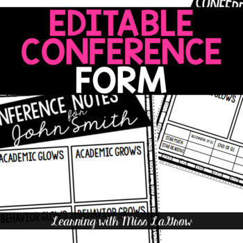 Editable Conference Notes Form for Parent Teacher Conferences