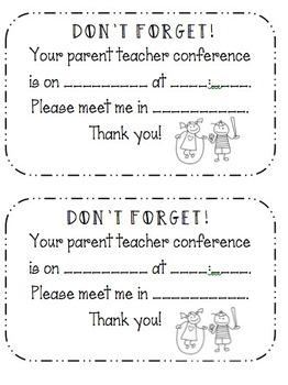 Editable Conference Reminders by Kori Snair | Teachers Pay Teachers