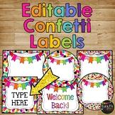 Editable Confetti Labels Rainbow Polka Dots {30 different labels}