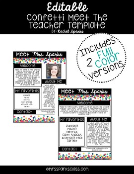 Editable Confetti Meet the Teacher Template