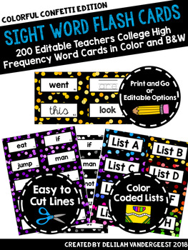Editable Confetti Sight Word Flash Cards: Teachers College High Frequency Words