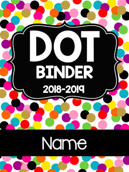 Editable Confetti Student DOT Binder Cover