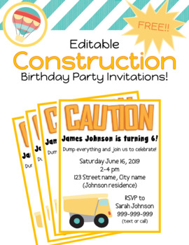 editable construction themed birthday party invitations tpt