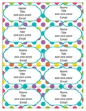 Editable Contact Cards - Multi Bright Dots