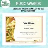 Editable Music Award Certificates