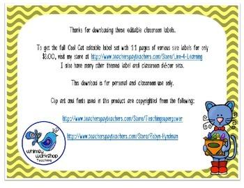 Editable Cool Cat Classroom Labels Freebie