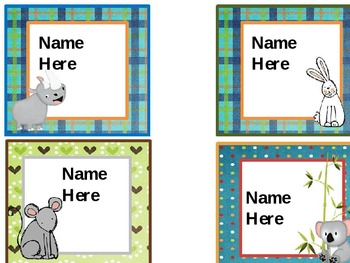 Editable Coordinating Animal Nameplates and Tags