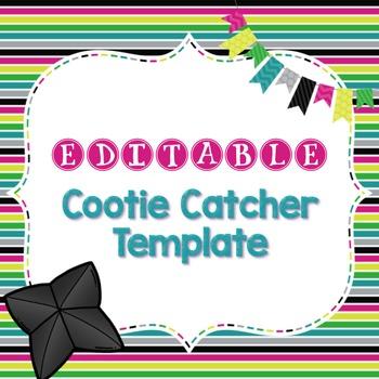 Editable Cootie Catcher Template by Miss Mac | Teachers Pay Teachers
