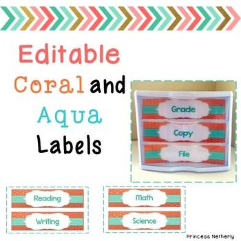 Editable Coral and Aqua Labels