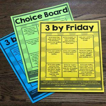 Editable Choice Board