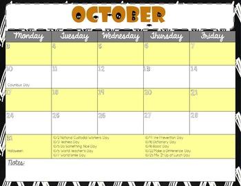 Editable Counselor Calendar