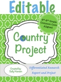 Editable Country Research Project 6-8 CCSS Aligned with Differentiated Options