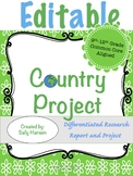 Editable Country Research Project 9-12 CCSS Aligned - Rubr