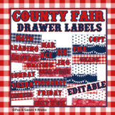 Editable County Fair USA Themed Drawer Labels